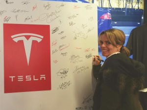 "Nancy Wright, GLOBE COO, signing as a ""Model 3 Future Owner."""